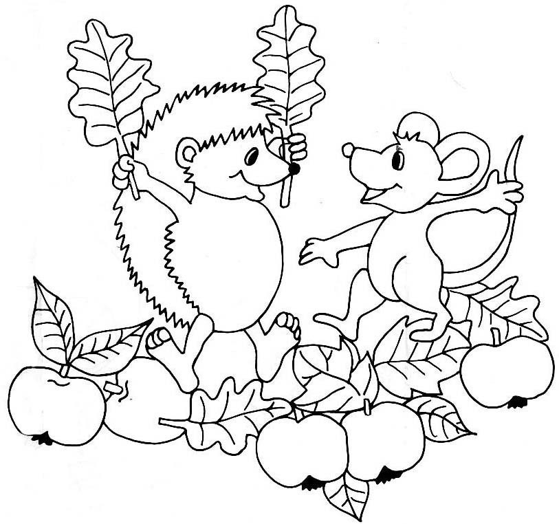 Раскраска ежик и мышка