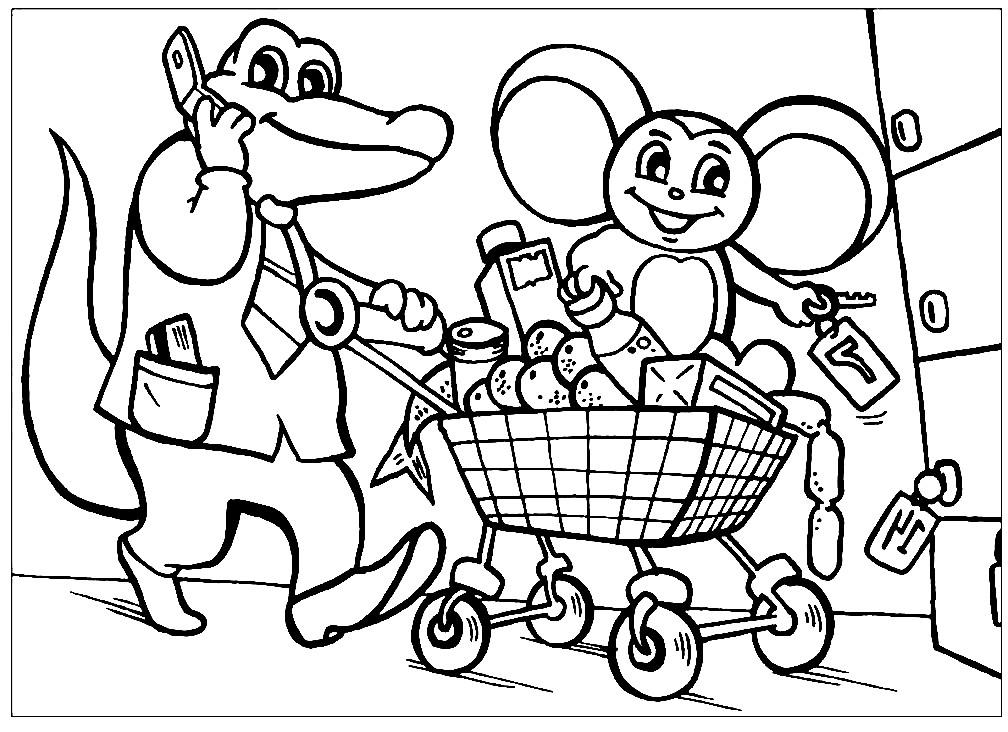 Раскраска Гена и Чебурашка делают покупки