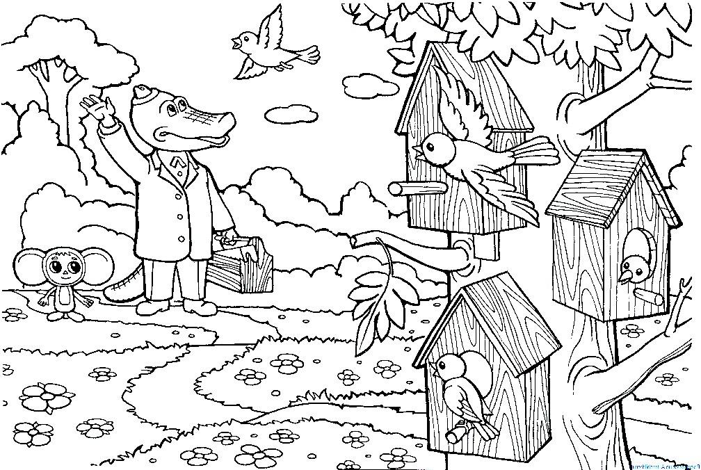 Раскраска Чебурашка и Гена сделали птицам скворечники