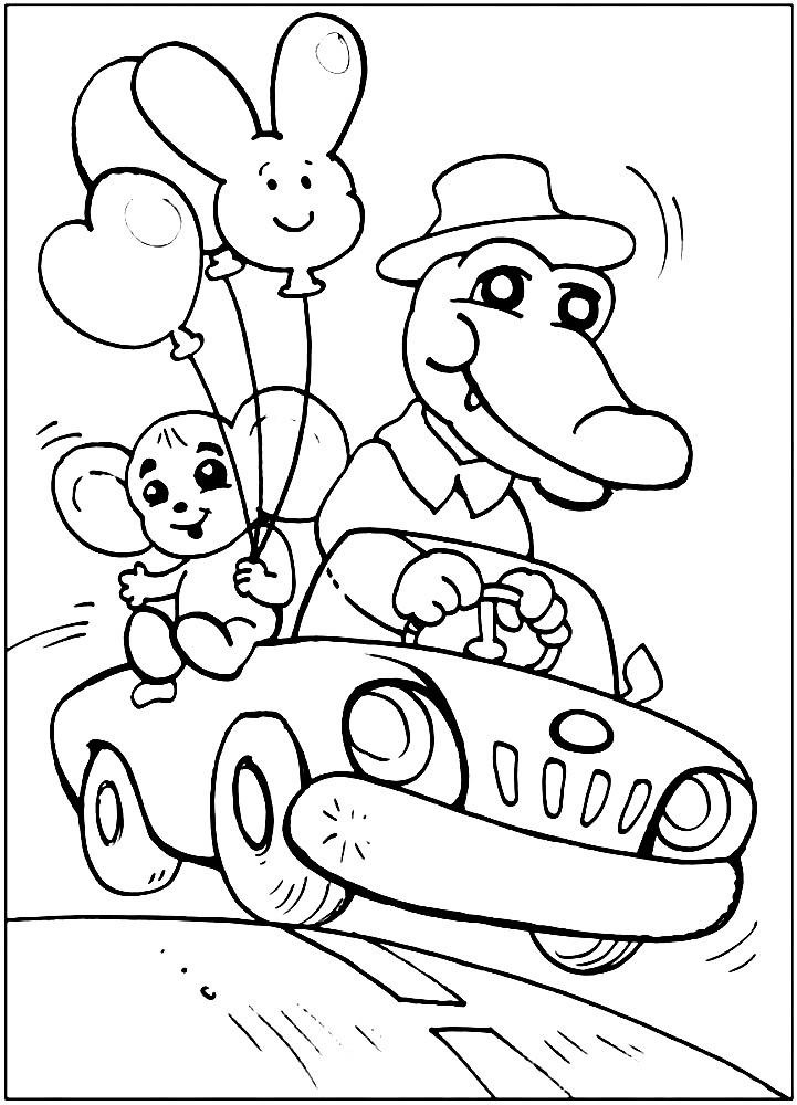 Раскраска Гена и Чебурашка едут в машине