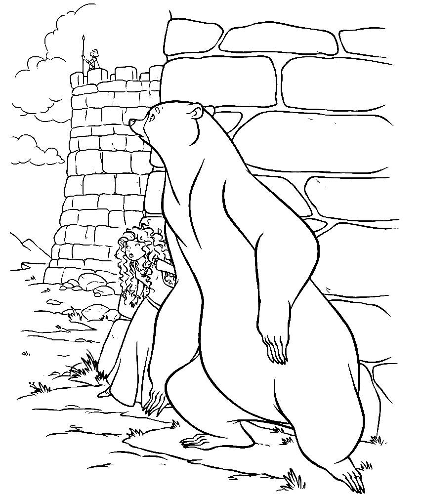 Раскраска Мерида и медведь