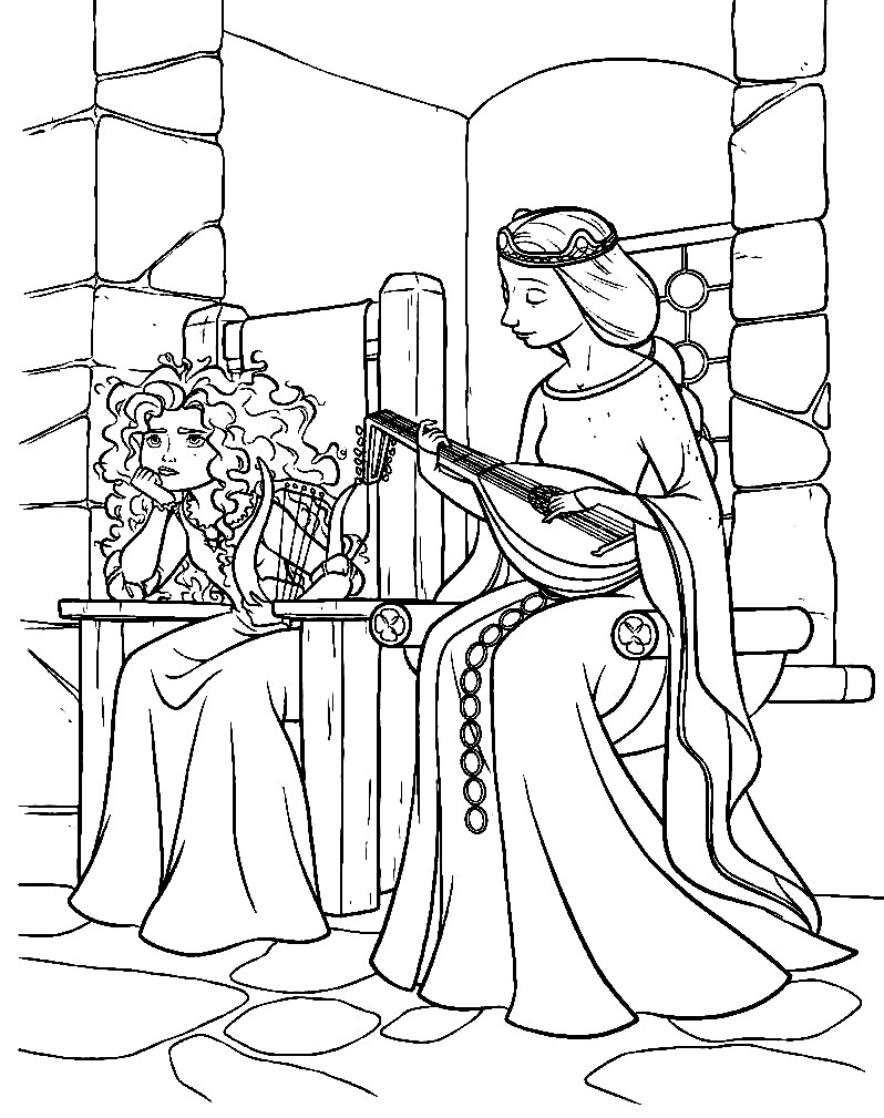 Раскраска принцесса Мерида