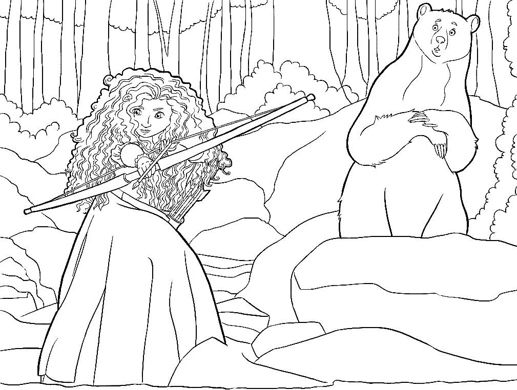 Раскраска Мерида стреляет из лука