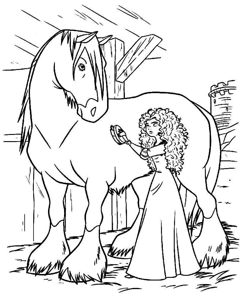 Раскраска Мерида и ее любимый конь