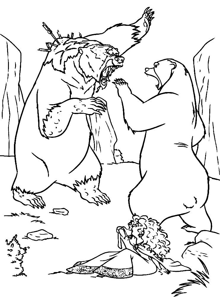 Раскраска бой медведев