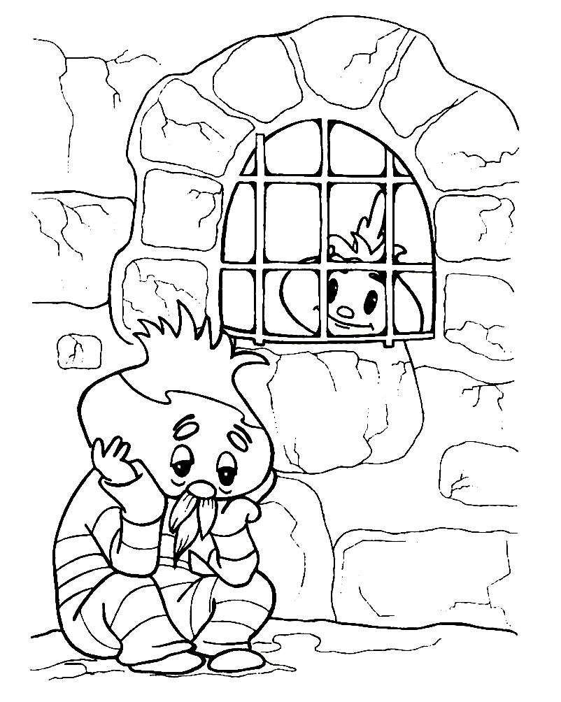 Раскраска Чиполлино спасает отца из тюрьмы