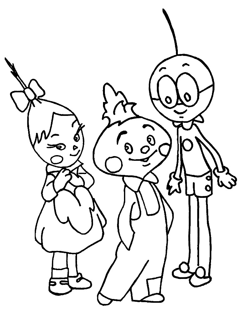 Раскраска Чиполлино с друзьями