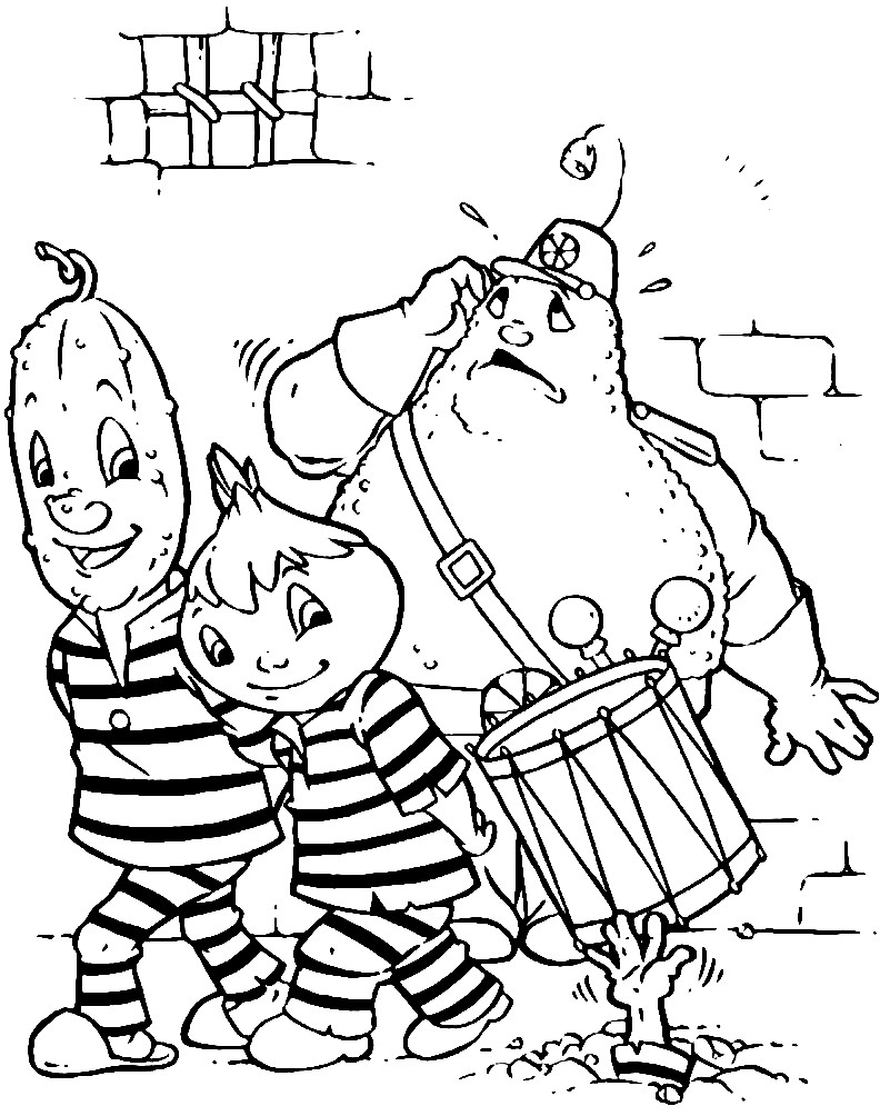 Раскраска Чиполлино в тюрьме