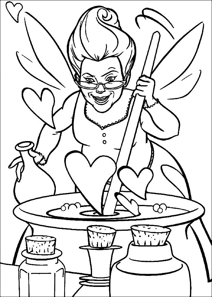 Раскраска фея крестная варит зелье