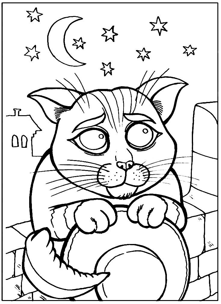 Раскраска милый котик из Шрека | Раскраски для детей ...