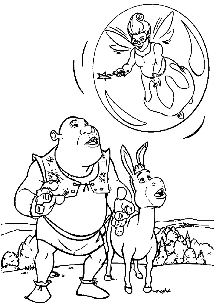 Раскраска Шрек, осел и фея крестная