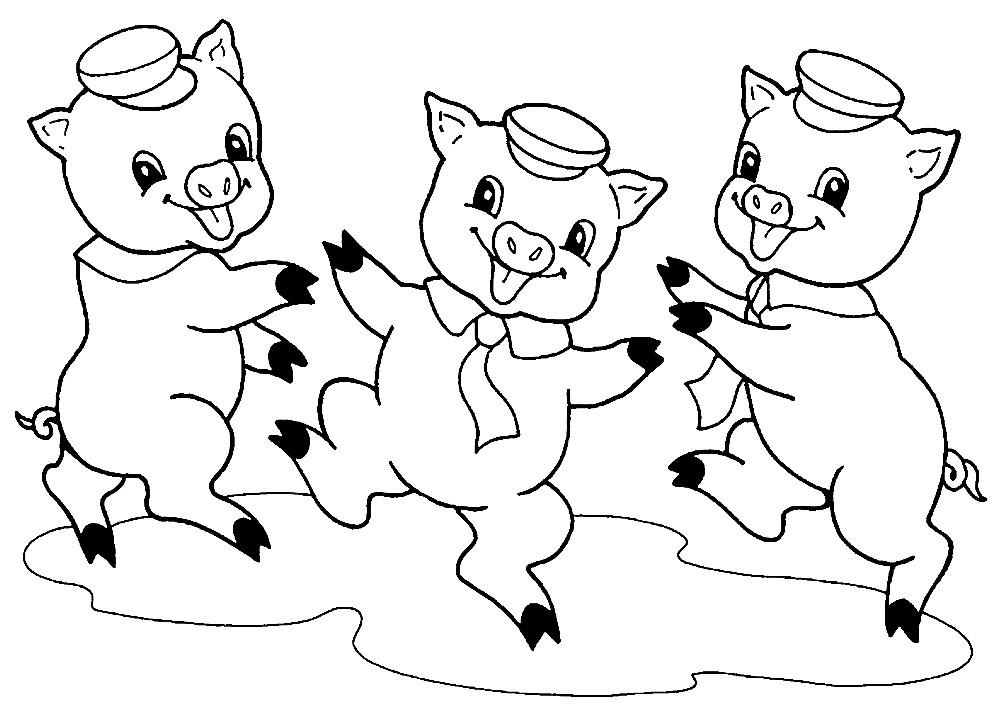 Раскраска три поросенка из Шрека