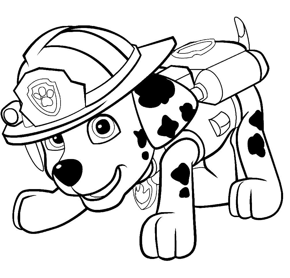 Раскраска Маршал — щенок пожарный