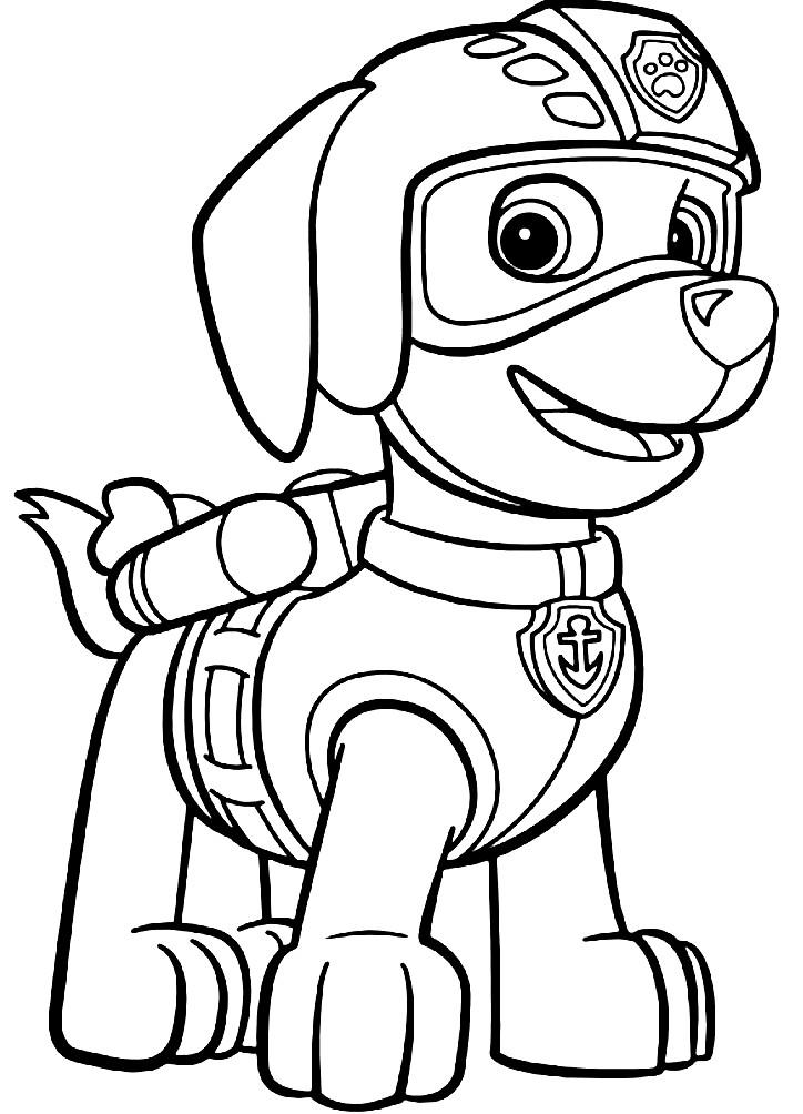 Раскраска щенок Зума — водный спасатель