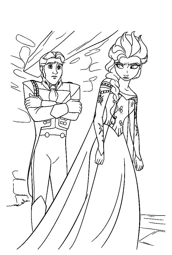 Раскраска Эльза и принц Ханс