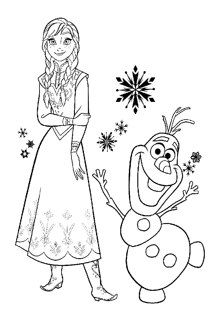 Раскраска Анна и снеговик Олаф