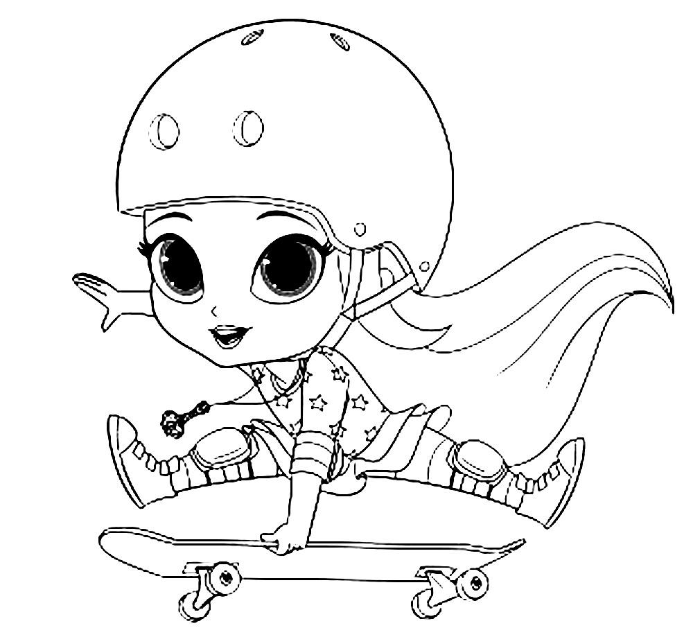 Раскраска Лия катается на скейте