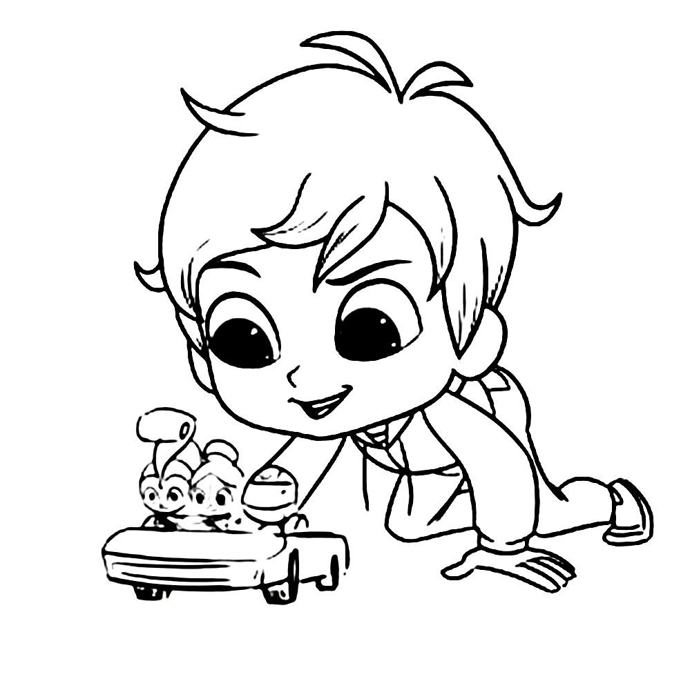 Раскраска Зак играет в машинки