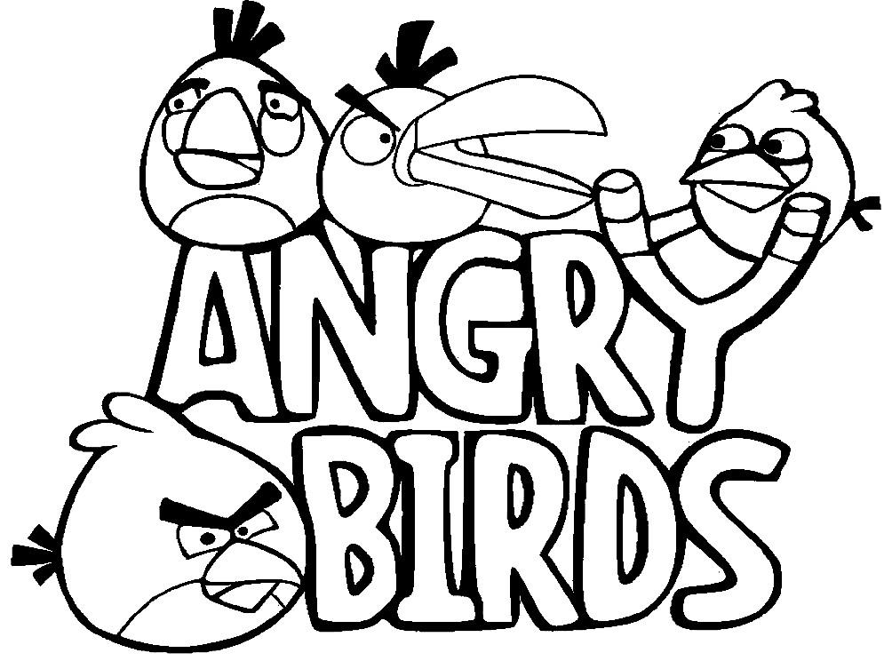 Раскраска Энгри Бердз сердитые птички