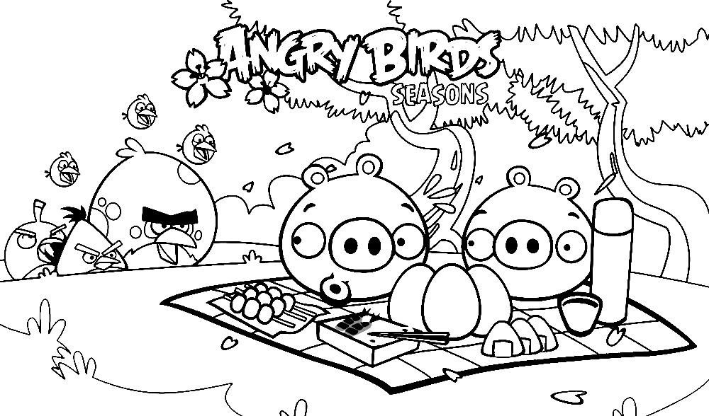 Раскраска Angry Birds Seasons