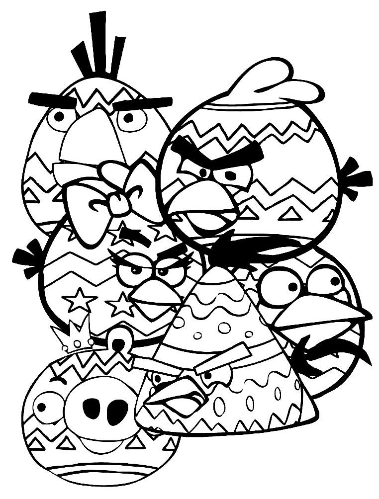 Раскраска птицы Энгри Бердс с узорами