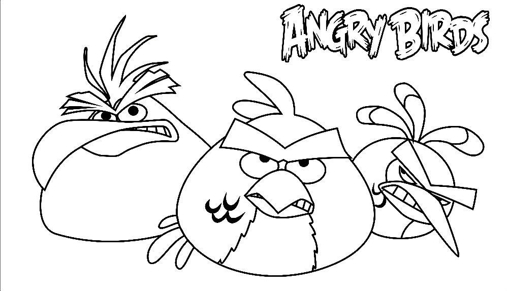 Раскраска три птицы из Энгри Бердз