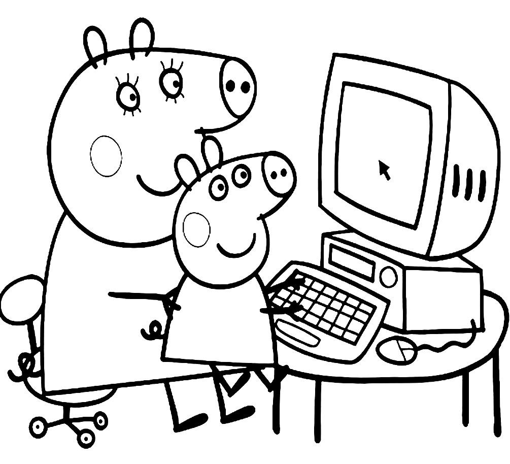 Раскраска Свинка Пеппа за компьютером