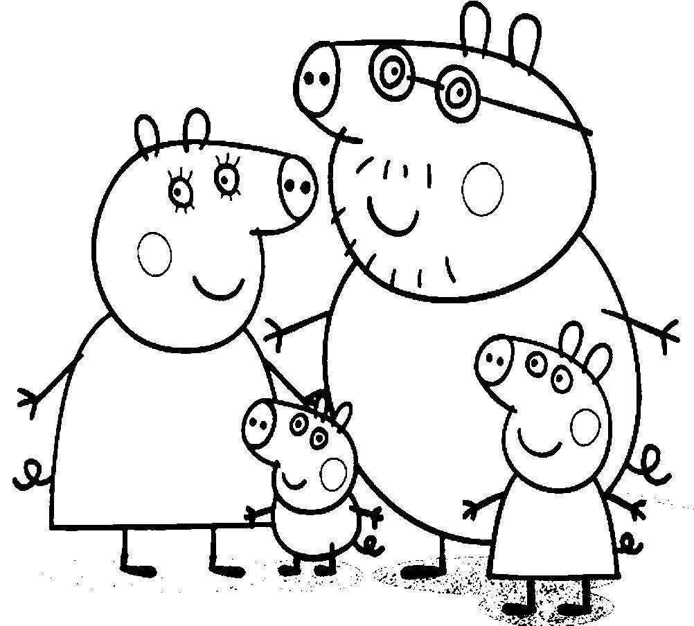 Раскраска Пеппа с семьей идет на прогулку