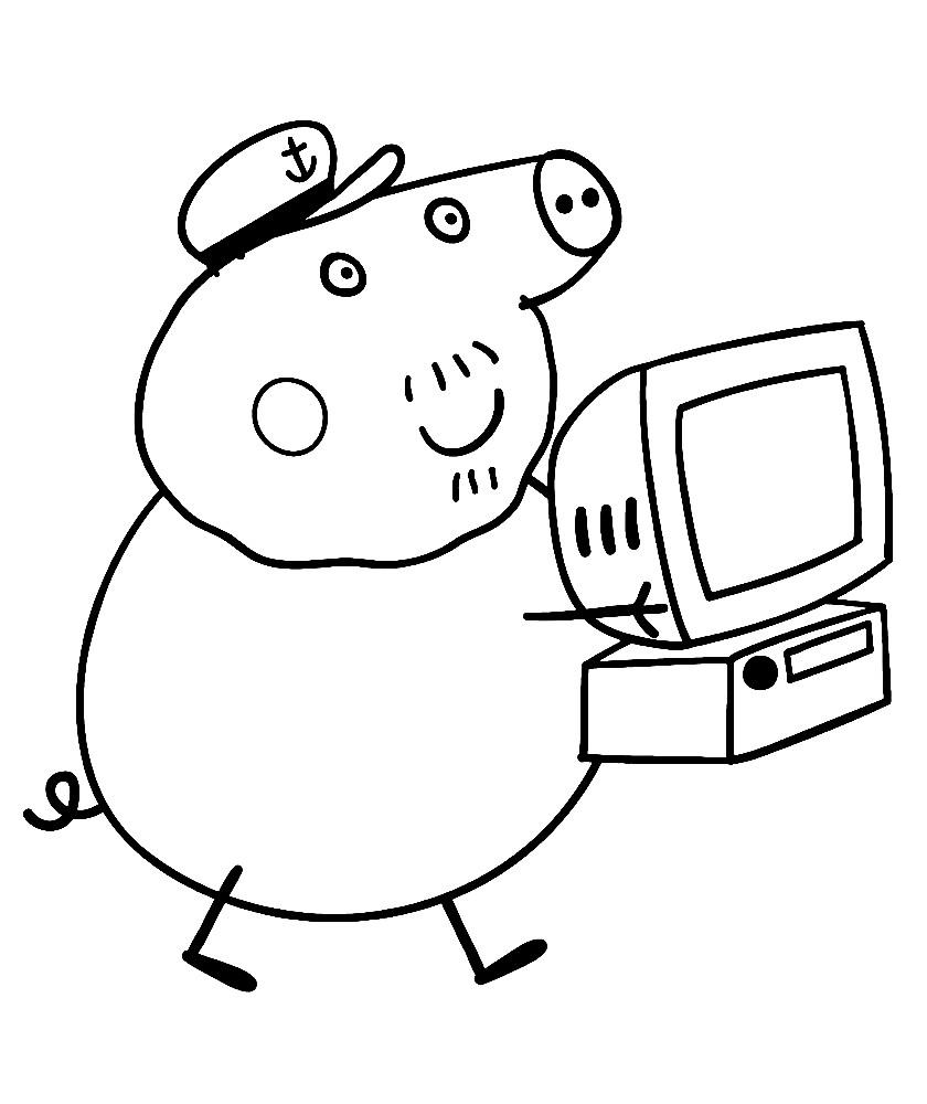 Раскраска дедушка Свин и компьютер