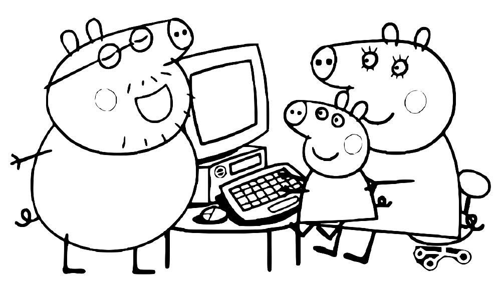 Раскраска семья Свинов за компьютером