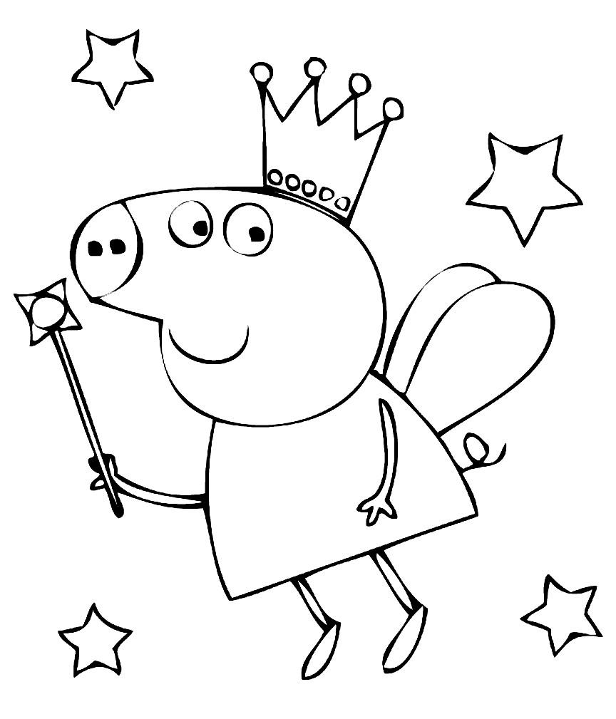 Раскраска Свинка Пеппа с волшебной палочкой | Раскраски ...