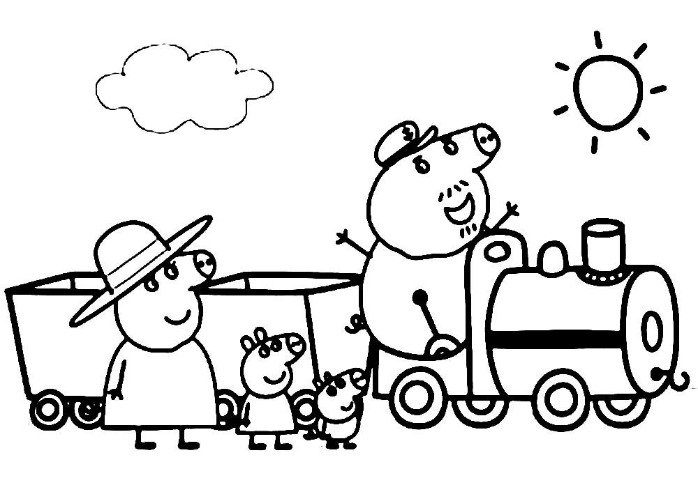 Раскраска семья свинок собирается в путешествие