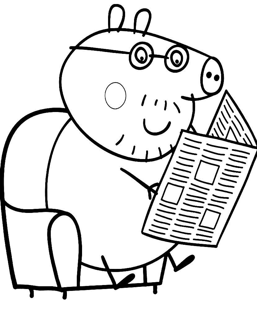 Раскраска папа Свин читает газету