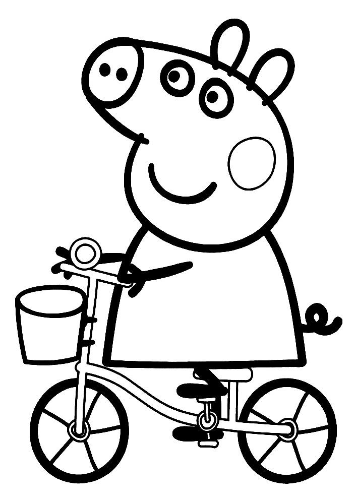 Раскраска Пеппа на велосипеде