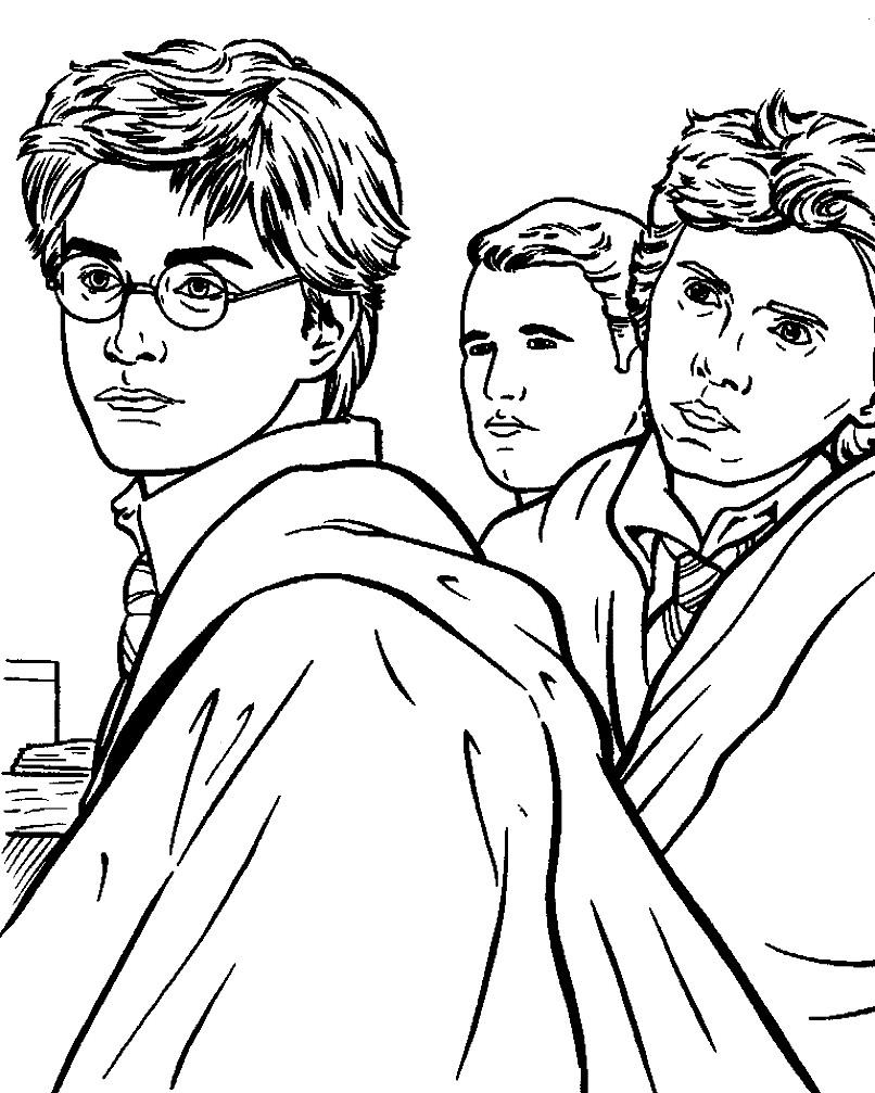 Раскраска взрослый Гарри Поттер