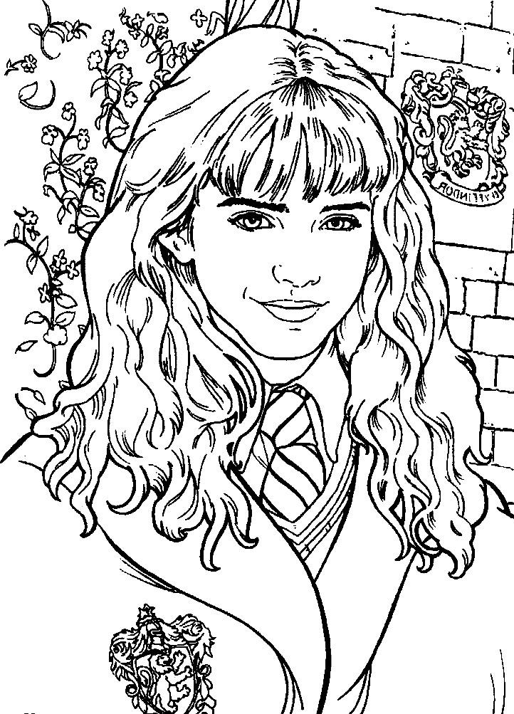 Раскраска Гермиона подруга Гарри Поттера