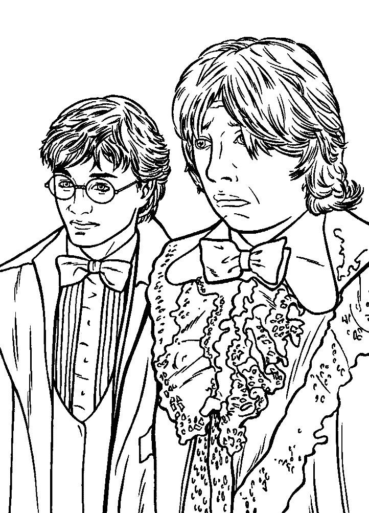 Раскраска Гарри с другом Роном