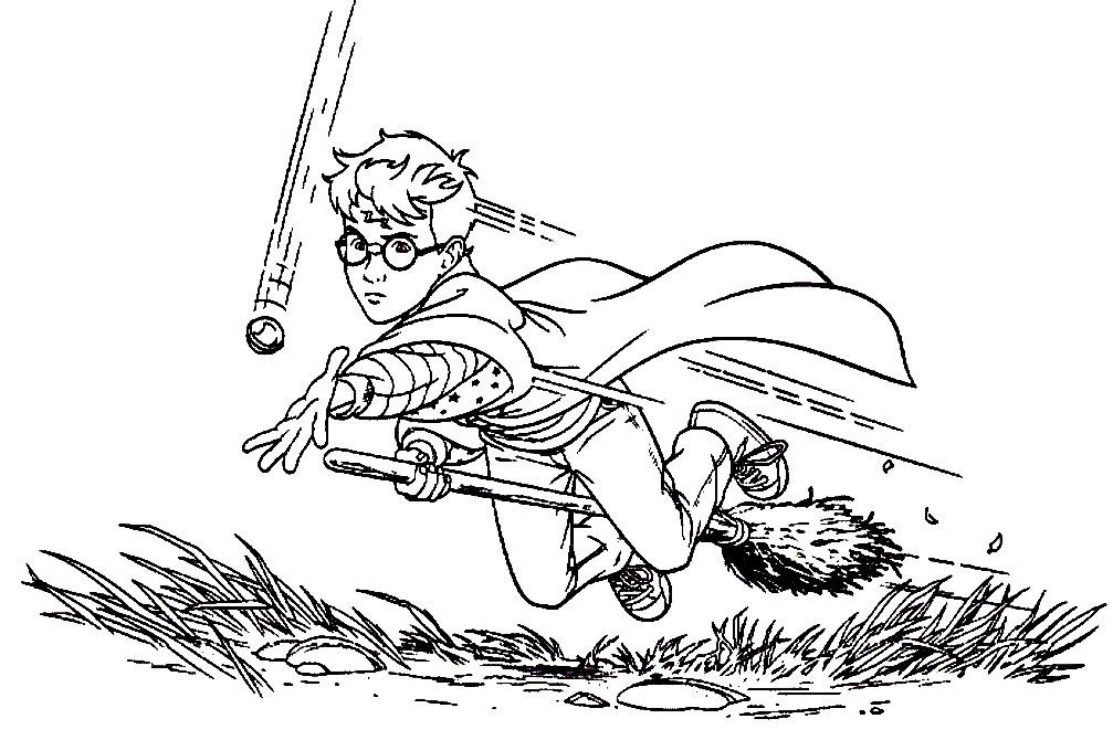 Раскраска Гарри Поттер играет в Квиддич