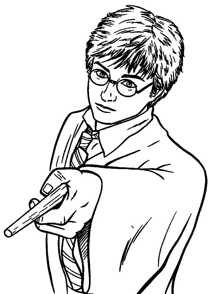Раскраска Гарри Поттер с палочкой