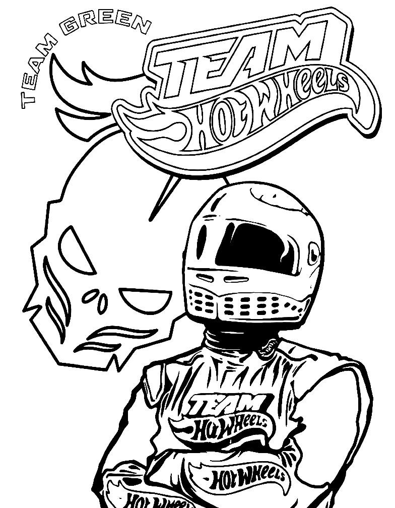 Раскраска гонщик из команды Hot Wheels