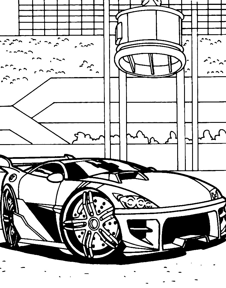 Раскраска спортивная машина Хот Вилс