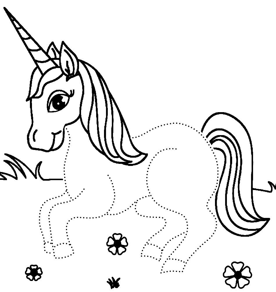 Раскраска лошадка Единорог для малышей