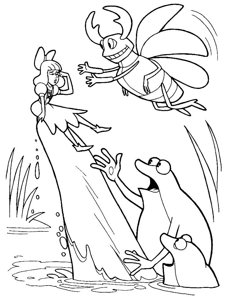 Раскраска Дюймовочку спасает Майский жук