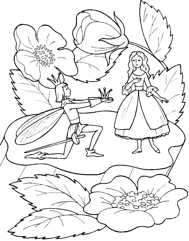 Раскраска Дюймовочка и принц