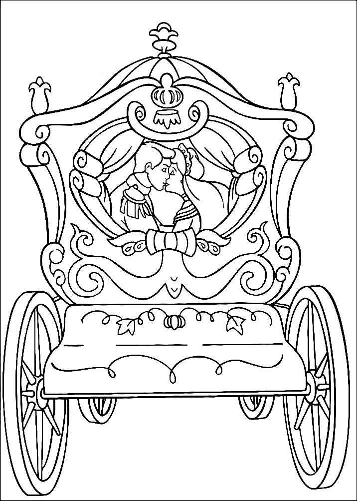 Раскраска Золушка и принц в карете