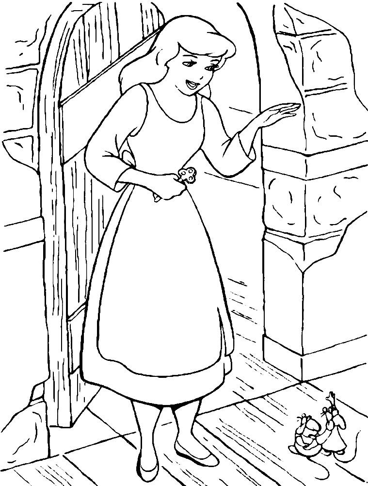 Раскраска Золушка и друзья мыши