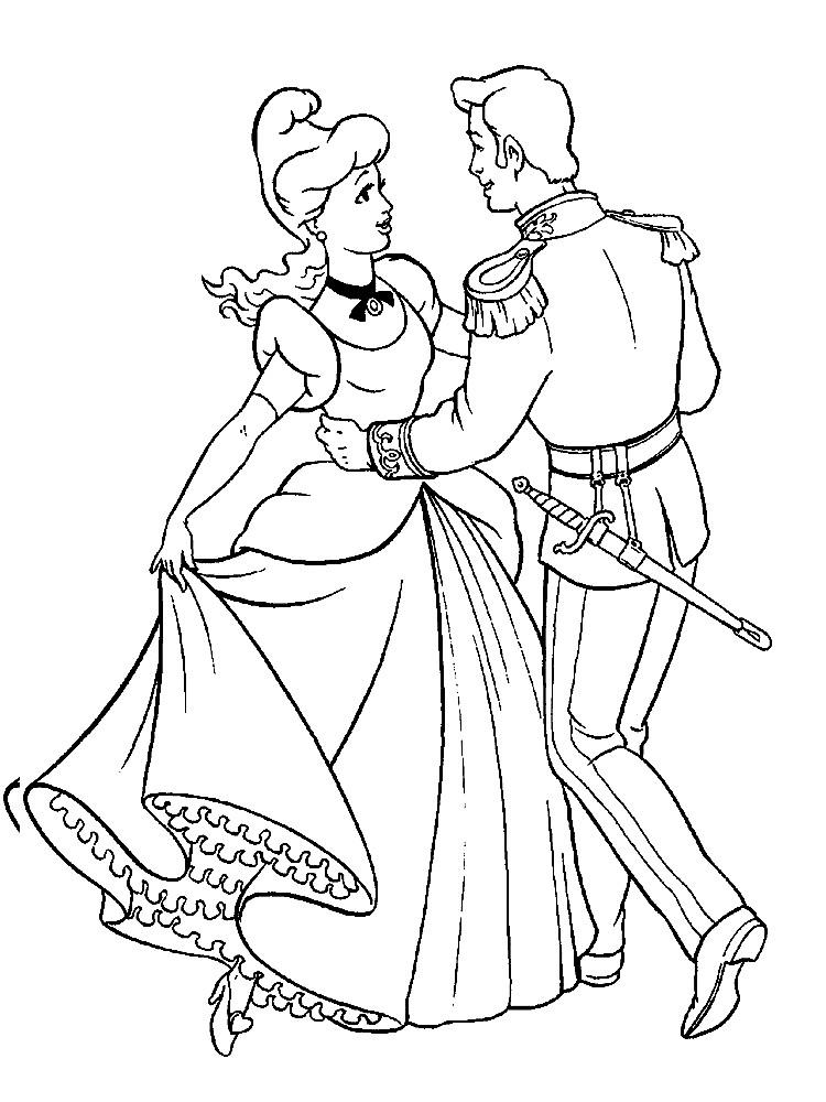 Раскраска Золушка и принц танцуют на балу | Раскраски для ...
