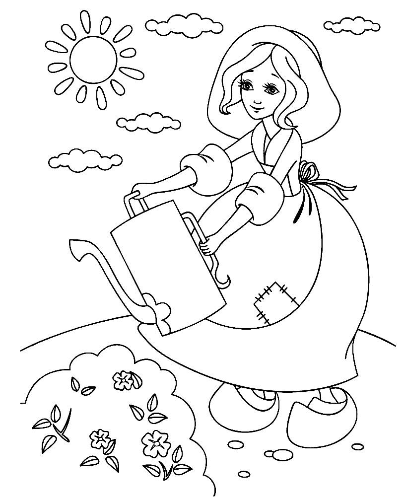 Раскраска Золушка работает в саду