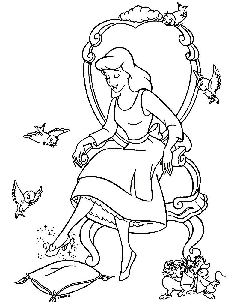 Раскраска Золушка и хрустальная туфелька | Раскраски для ...