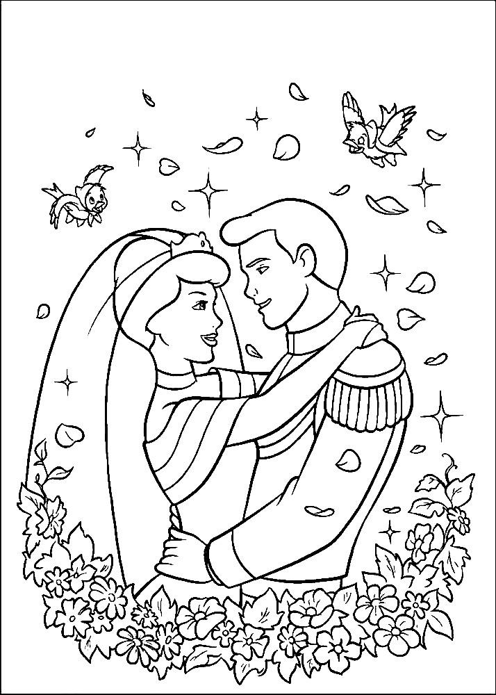 Раскраска свадьба принца и Золушки